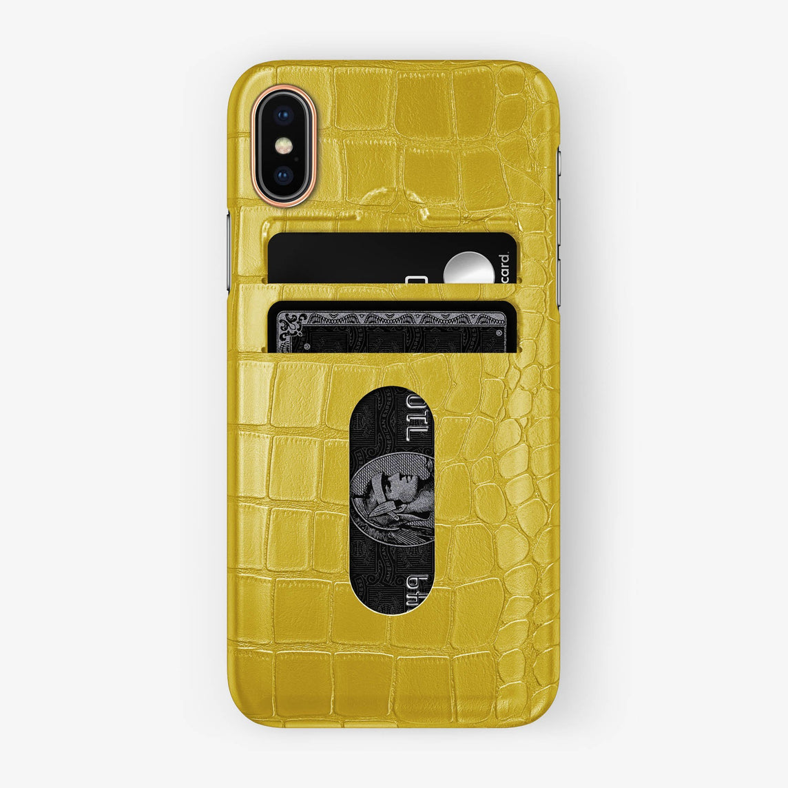 Alligator Card Holder Case iPhone Xs | Yellow - Rose Gold with-personalization