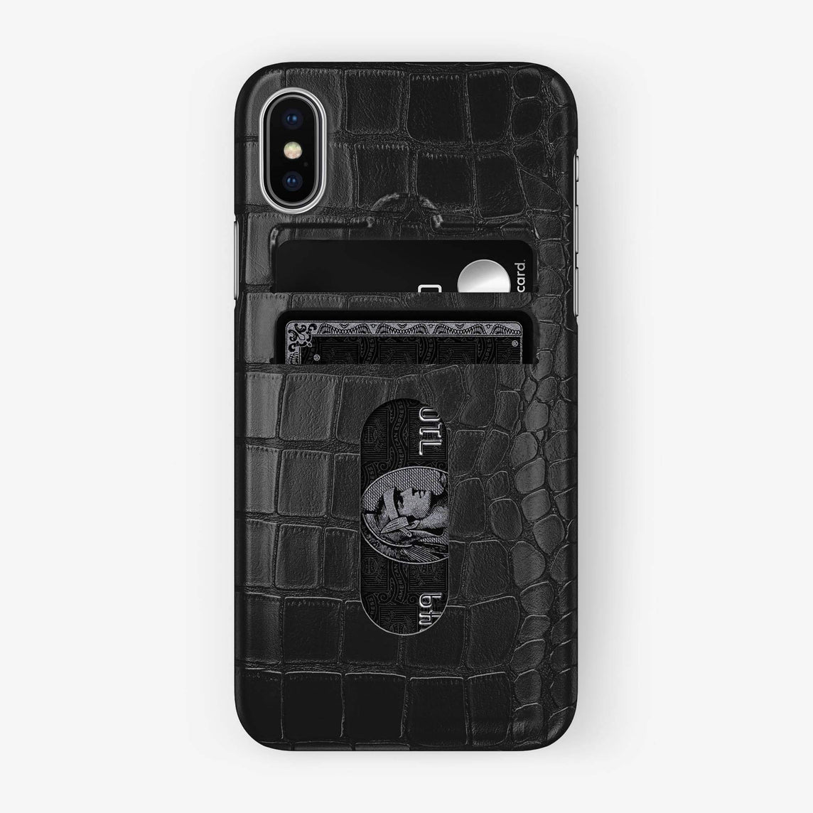 Alligator Card Holder Case iPhone Xs Max | Black - Stainless Steel - Hadoro