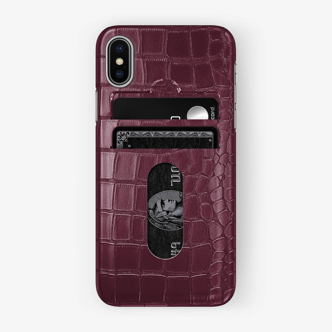 Alligator Card Holder Case iPhone X/Xs | Burgundy - Stainless Steel without-personalization