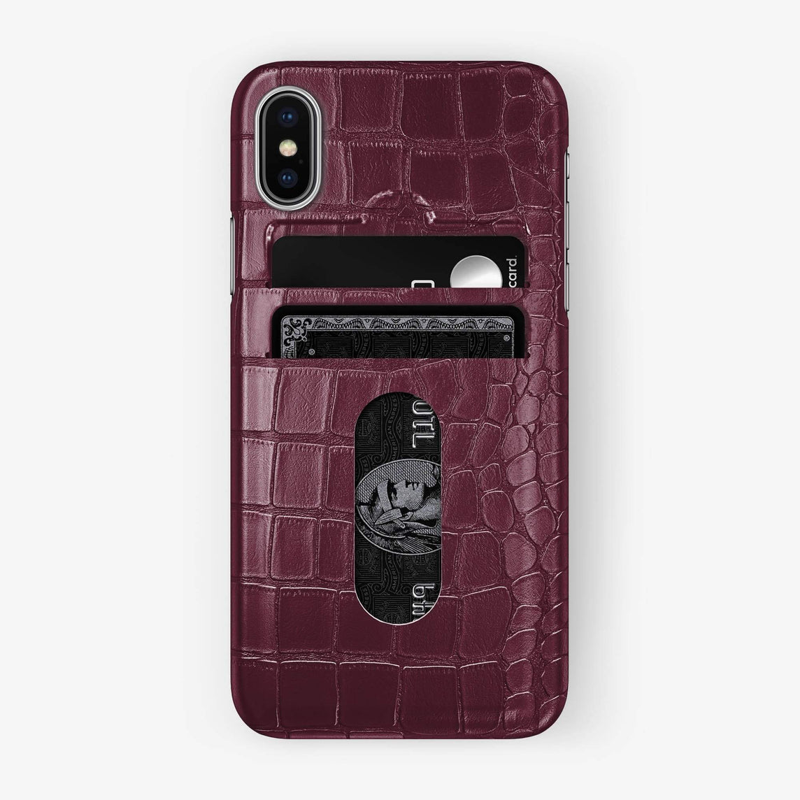 Alligator Card Holder Case iPhone Xs Max | Burgundy - Stainless Steel - Hadoro