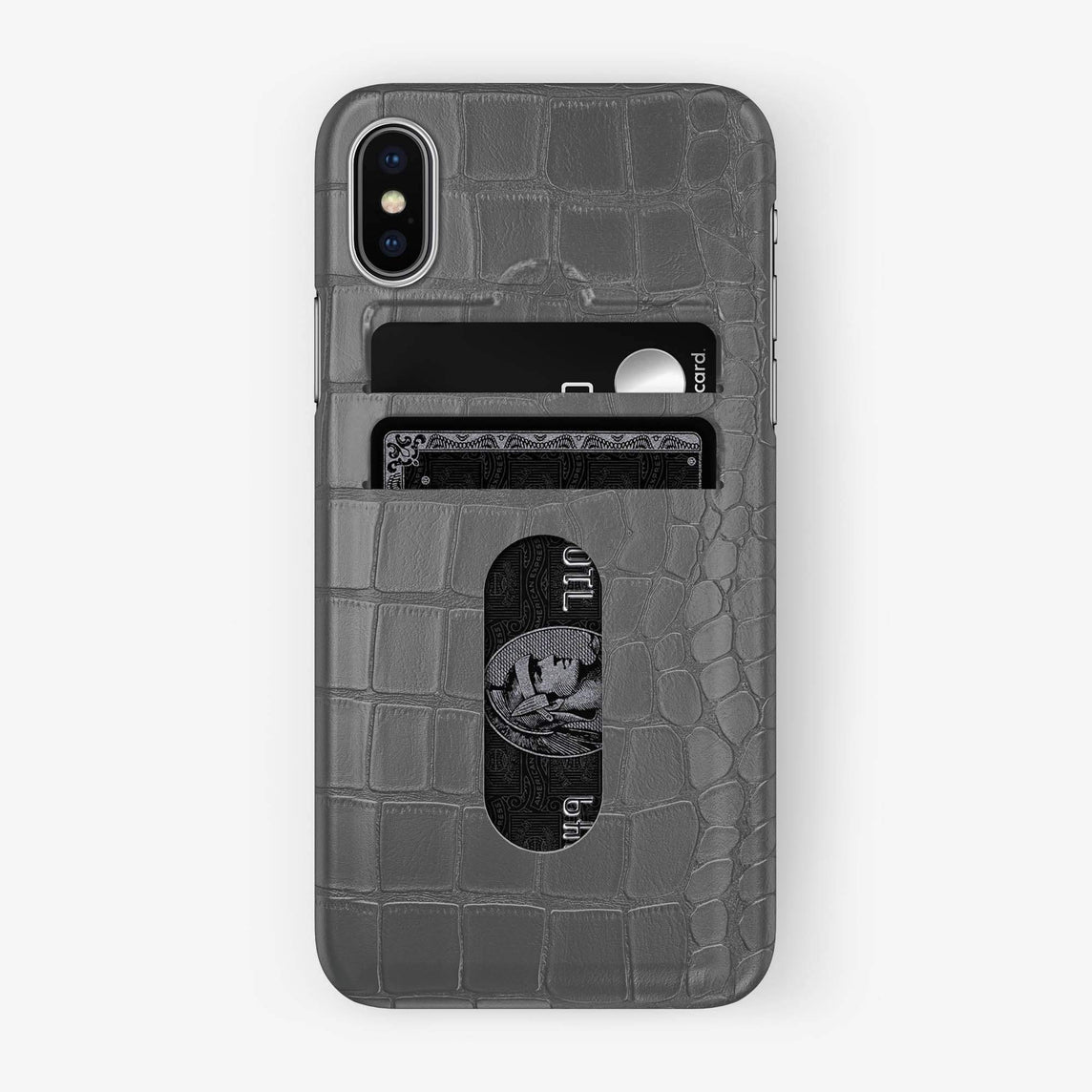 Alligator Card Holder Case iPhone Xs Max | Grey - Stainless Steel - Hadoro