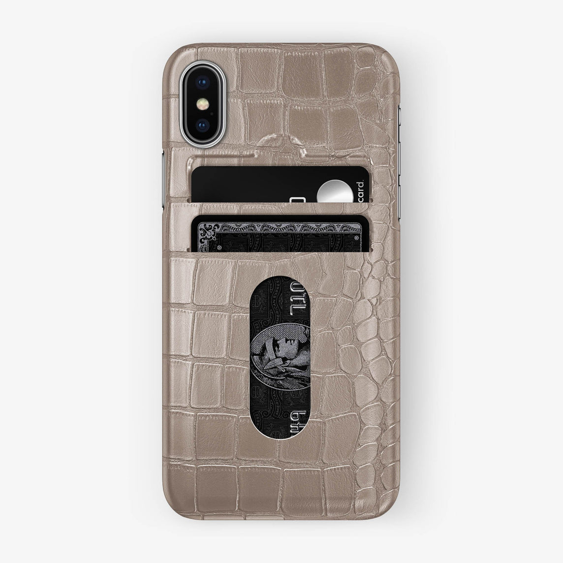 Alligator Card Holder Case iPhone X/Xs | Latte - Stainless Steel with-personalization