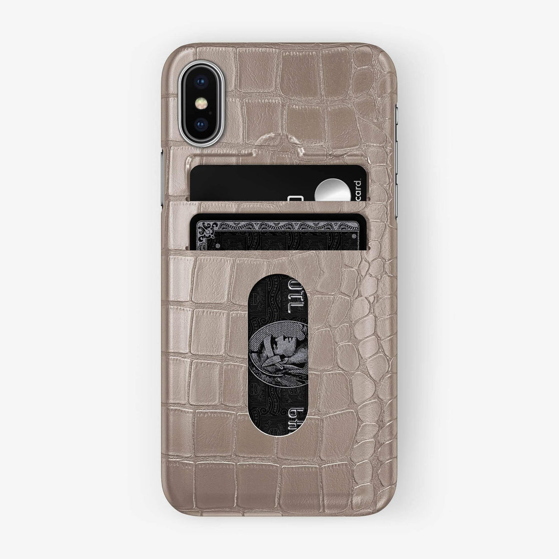 Alligator Card Holder Case iPhone Xs Max | Latte - Stainless Steel