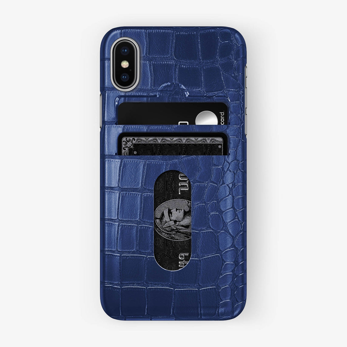 Alligator Card Holder Case iPhone X/Xs | Navy Blue - Stainless Steel - Hadoro