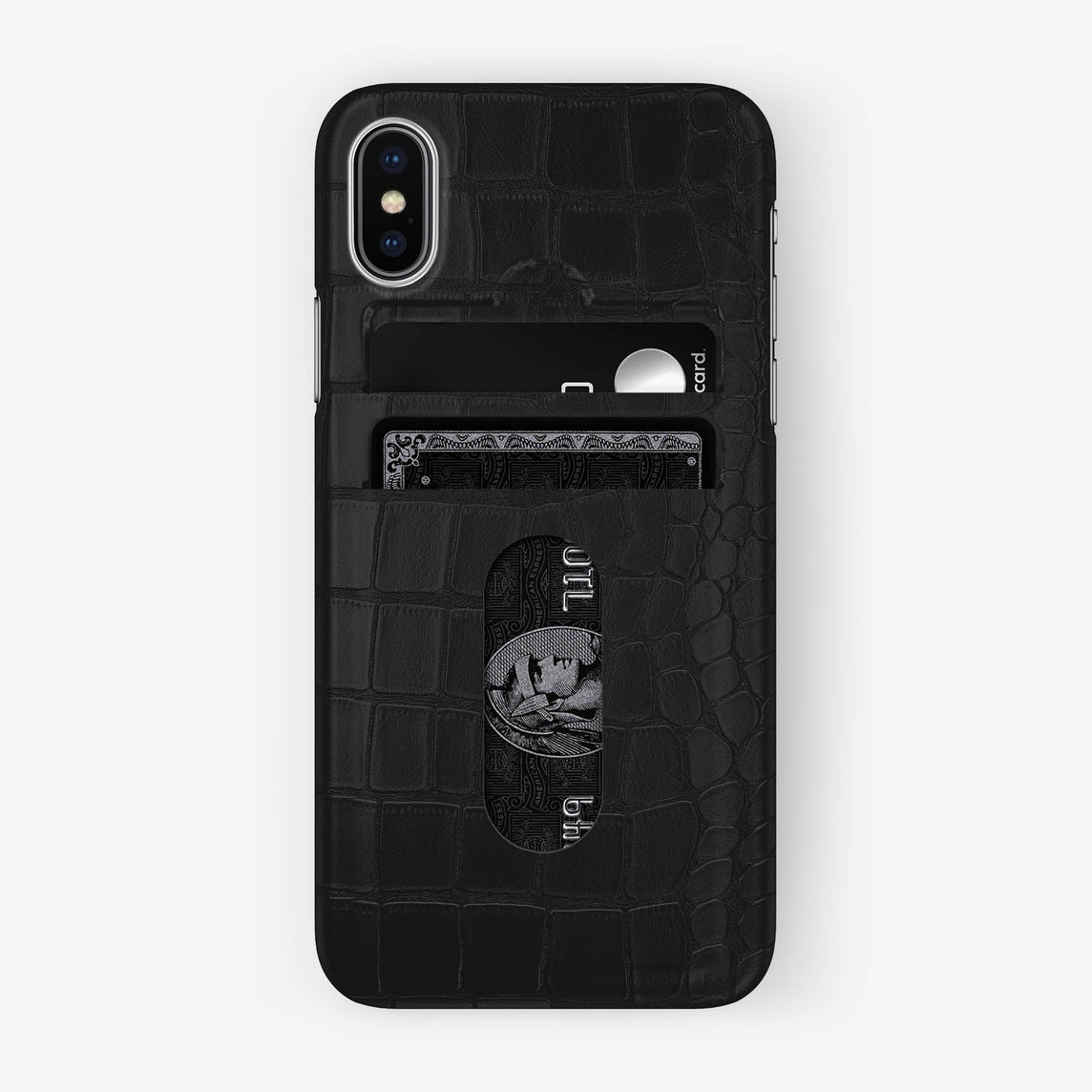 Alligator Card Holder Case iPhone X/Xs | Phantom Black - Stainless Steel - Hadoro