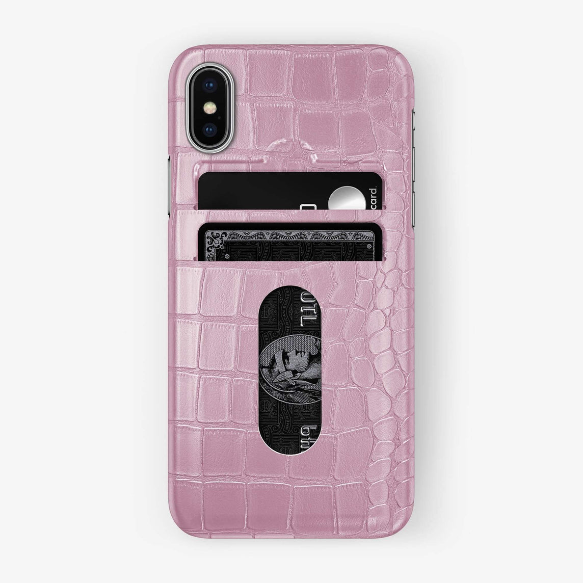 Alligator Card Holder Case iPhone Xs Max | Pink - Stainless Steel - Hadoro