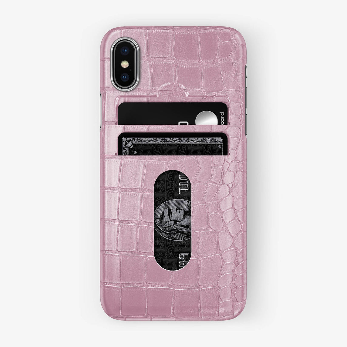 Alligator Card Holder Case iPhone Xs | Pink - Stainless Steel - Hadoro