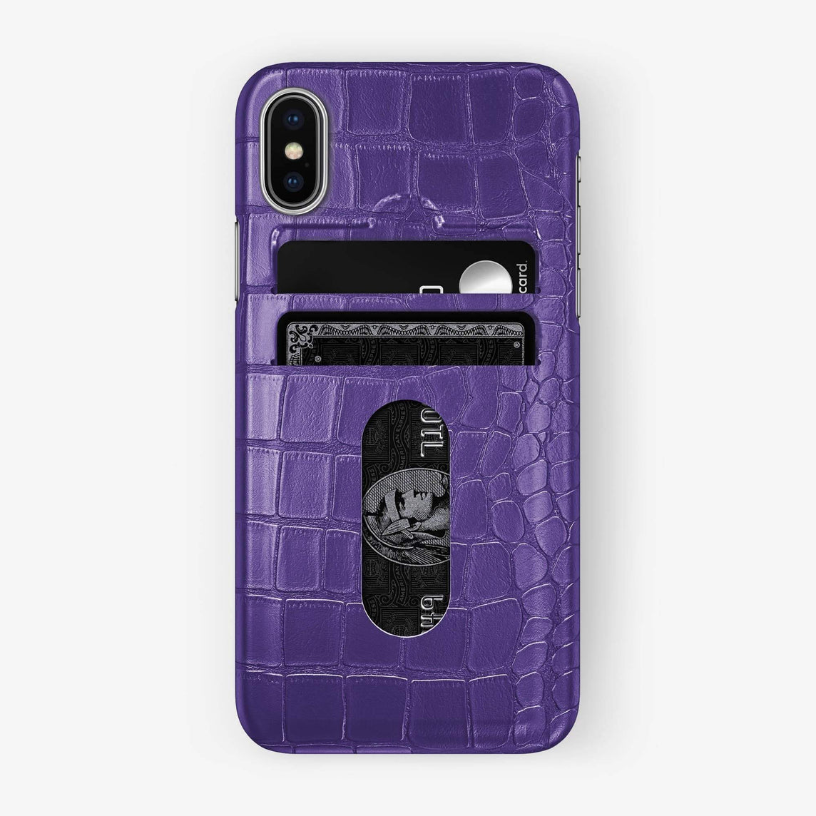 Alligator Card Holder Case iPhone Xs Max | Purple - Stainless Steel