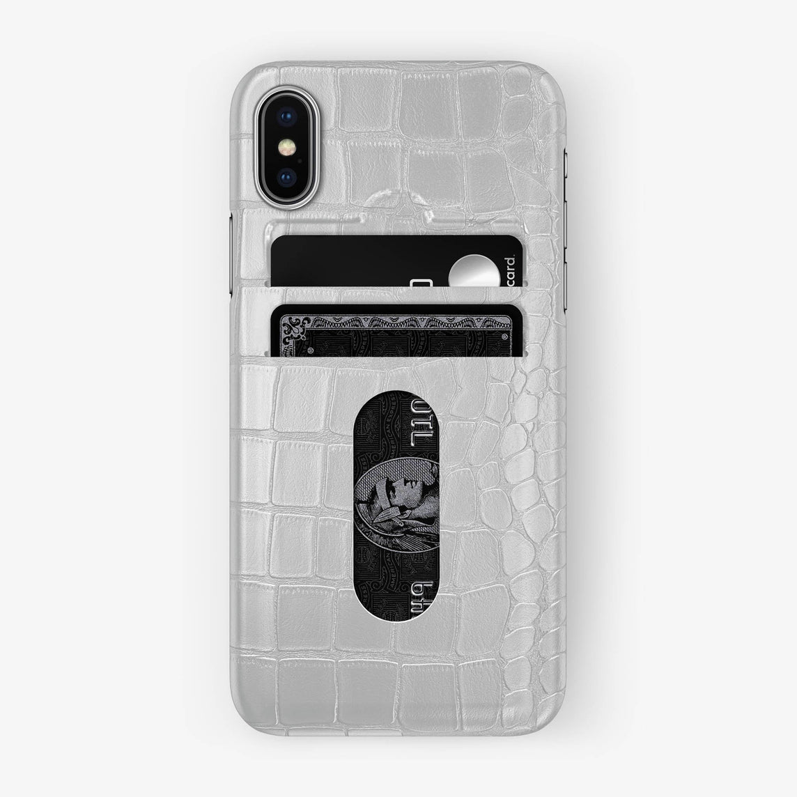 Alligator Card Holder Case iPhone X/Xs | White - Stainless Steel without-personalization