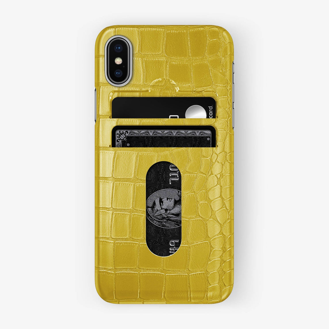 Alligator Card Holder Case iPhone Xs | Yellow - Stainless Steel - Hadoro