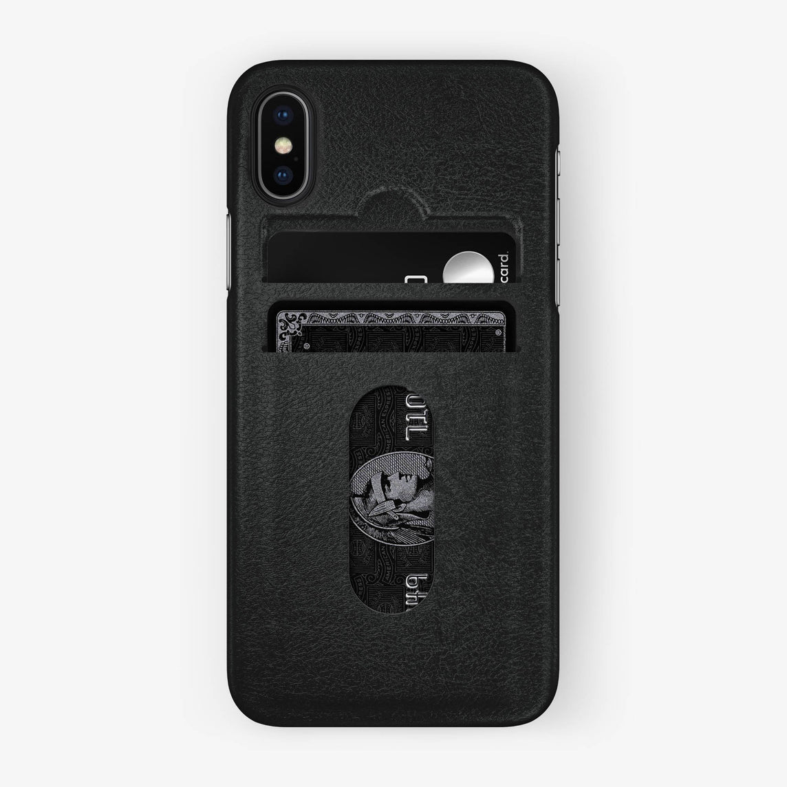 Calfskin Card Holder Case iPhone X/Xs | Black - Black