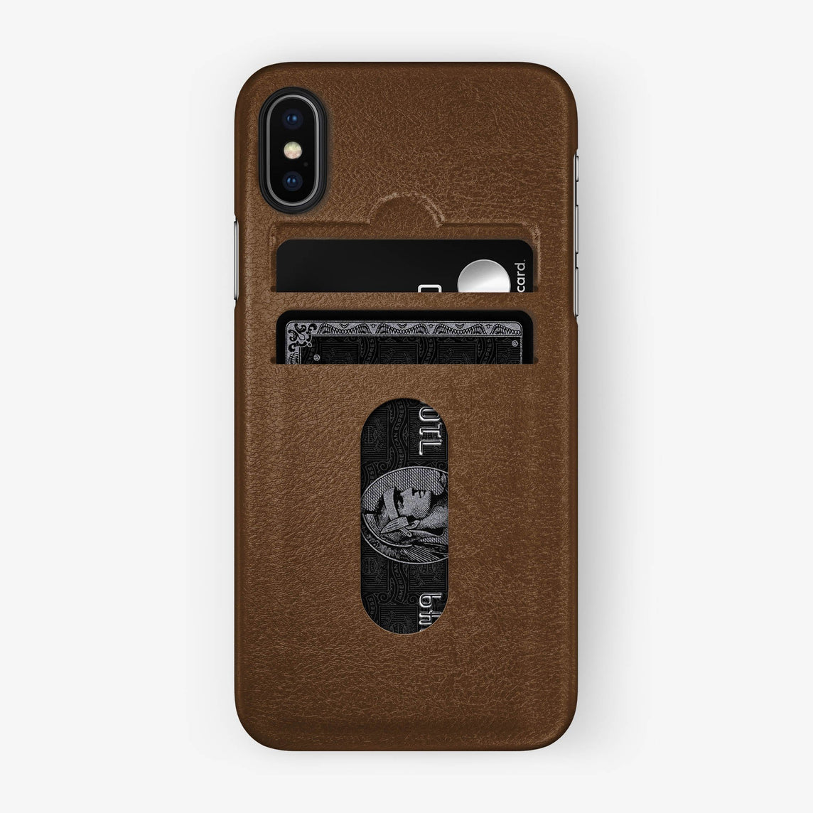 Brown Calfskin iPhone Card Holder Case for iPhone X finishing black - Hadoro Luxury Cases