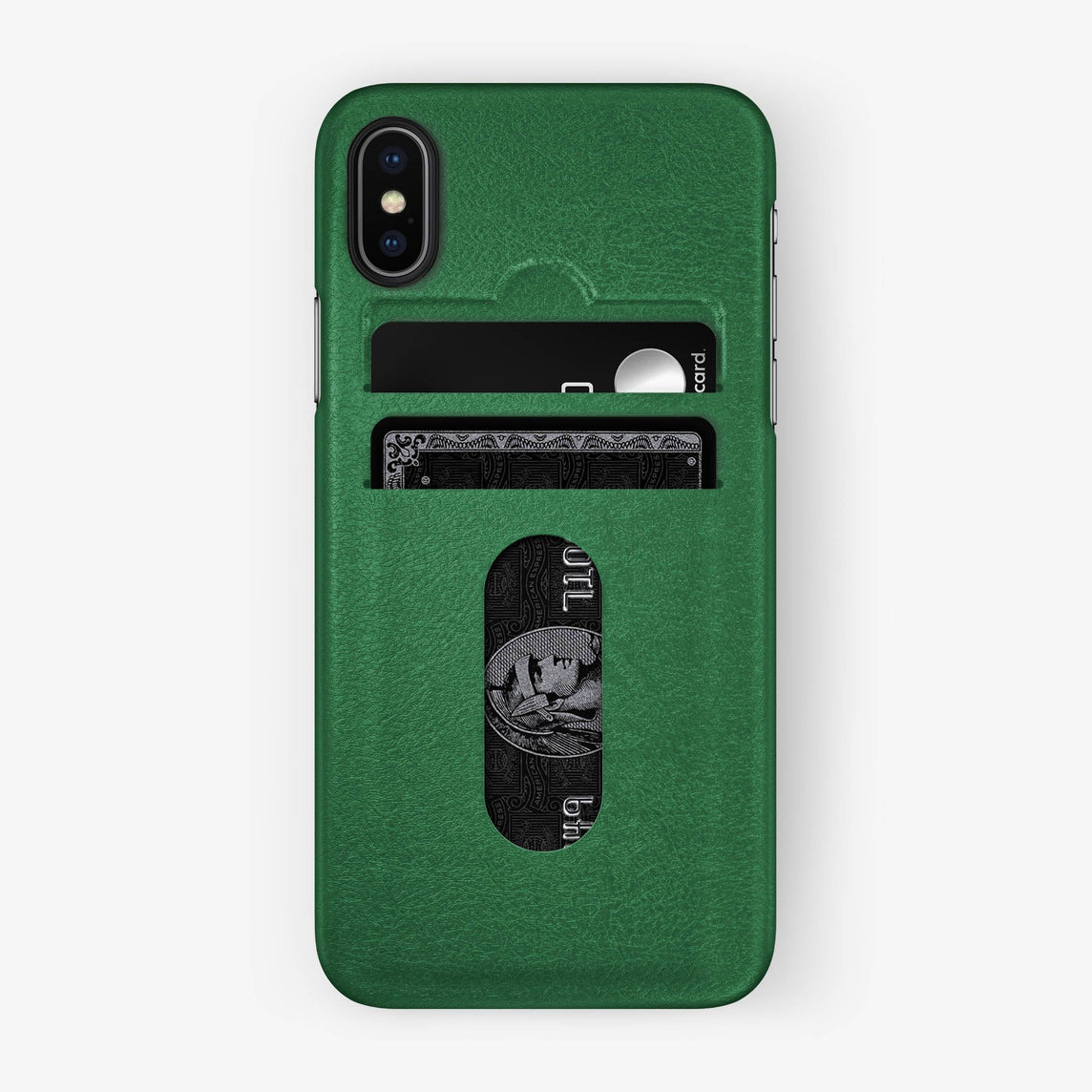 Calfskin [iPhone Card Holder Case] [model:iphone-x-case] [colour:green] [finishing:black]