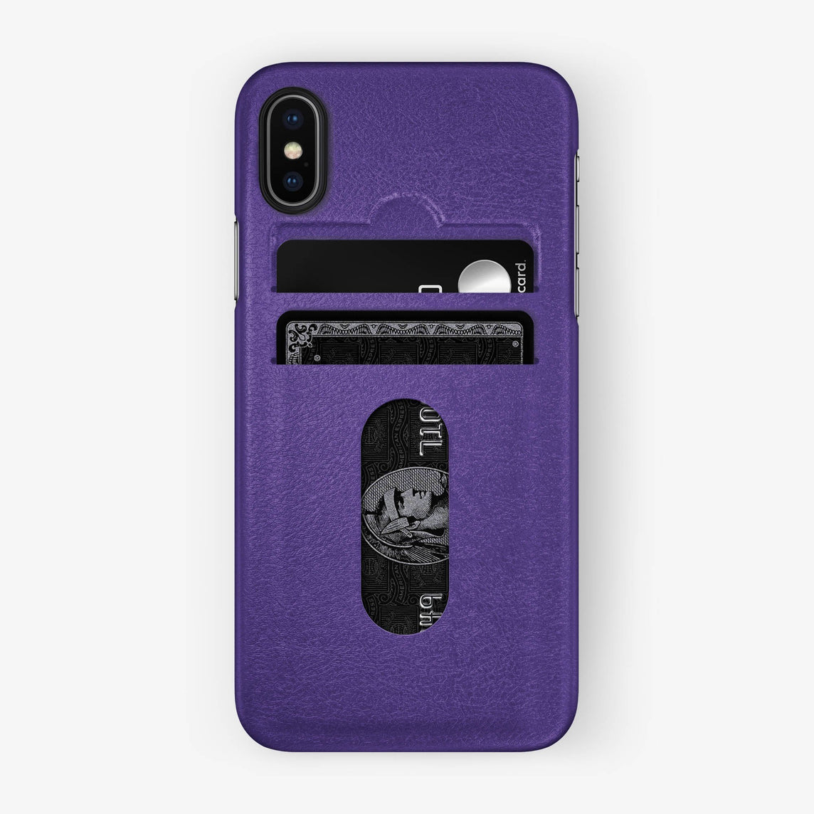 Purple Calfskin iPhone Card Holder Case for iPhone X finishing black - Hadoro Luxury Cases