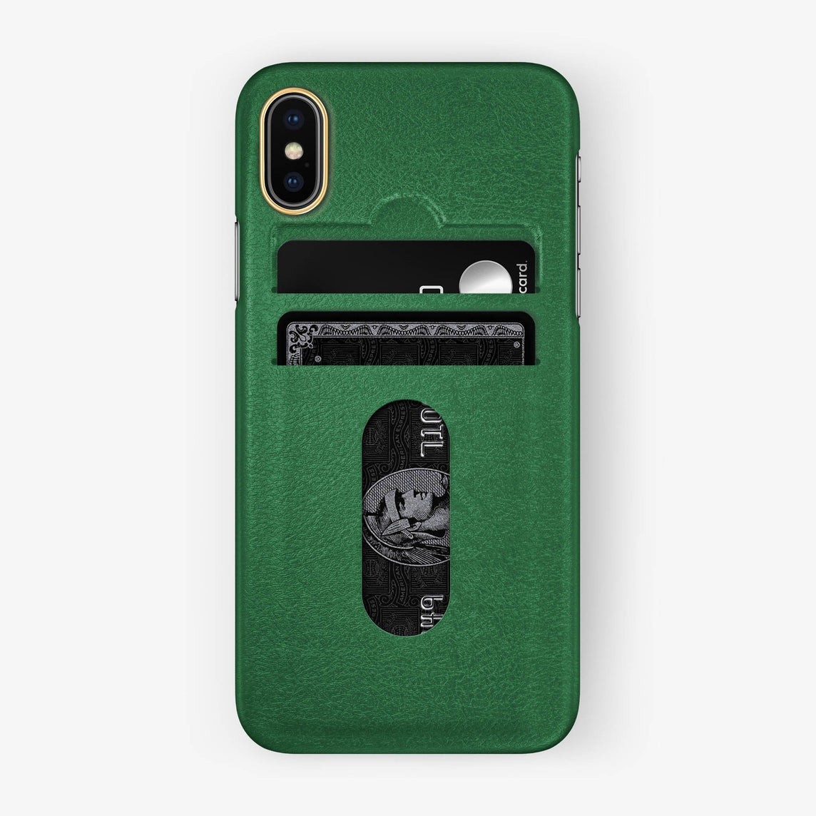 Calfskin Card Holder Case iPhone X/Xs | Green - Yellow Gold