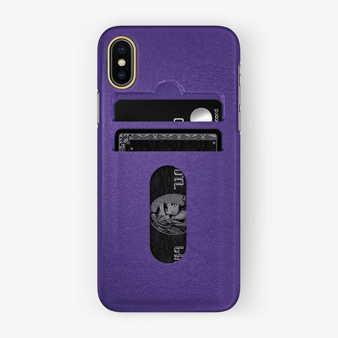 Calfskin Card Holder Case iPhone Xs Max | Purple - Yellow Gold