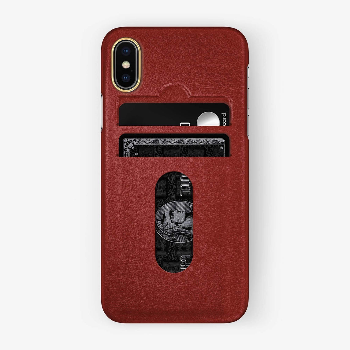 Calfskin Card Holder Case iPhone Xs Max | Red - Yellow Gold