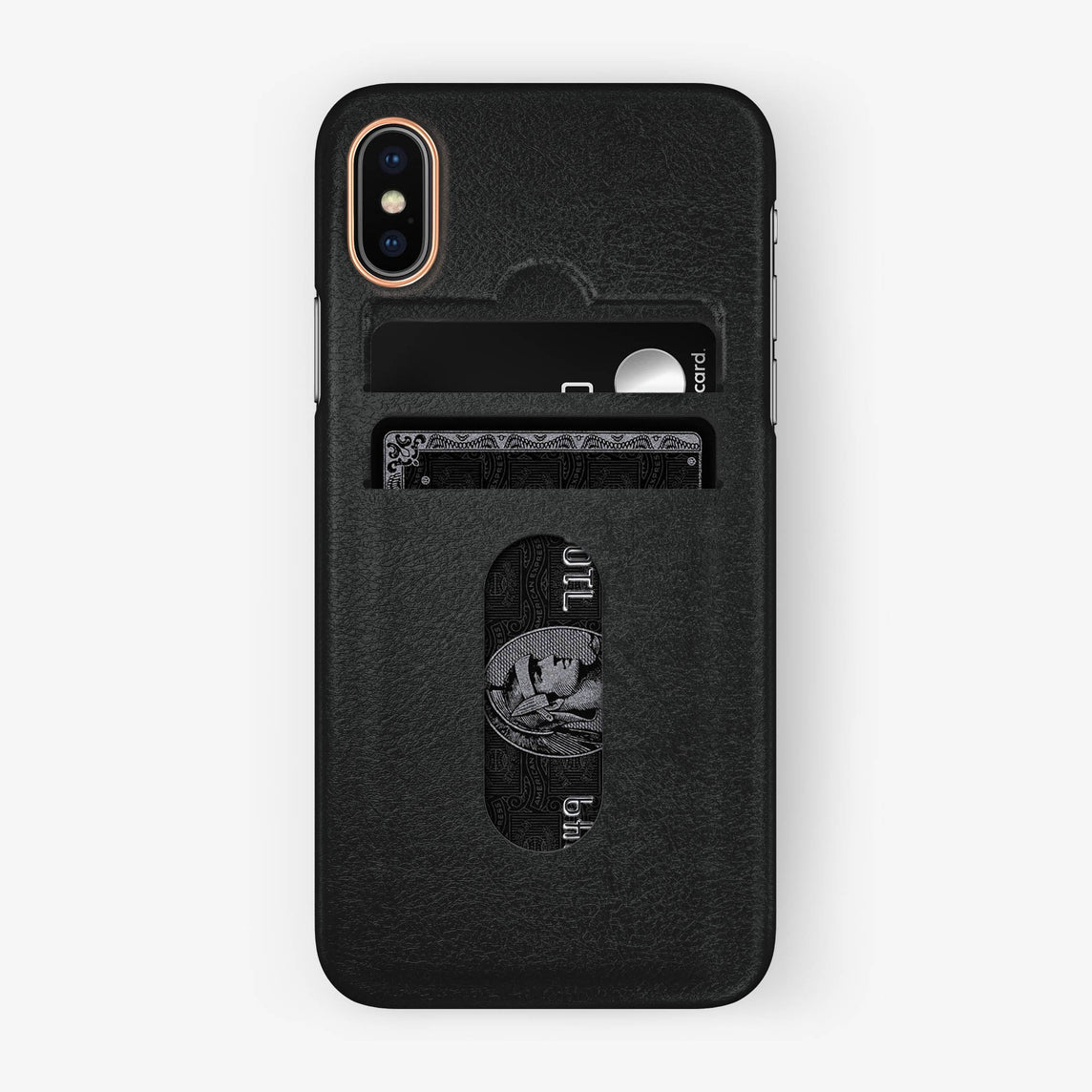 Calfskin Card Holder Case iPhone X/Xs | Black - Rose Gold