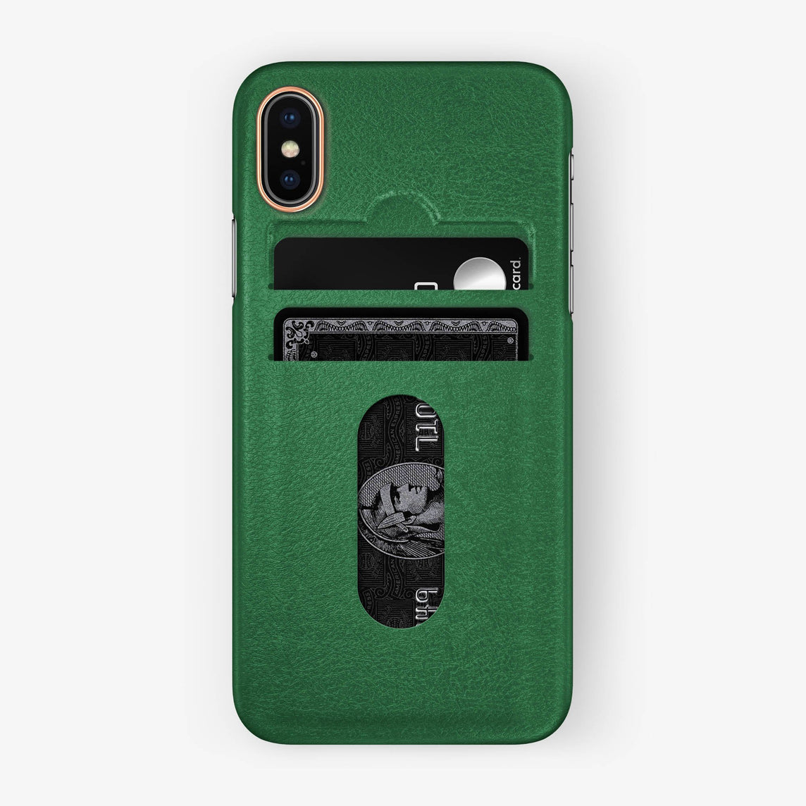 Calfskin [iPhone Card Holder Case] [model:iphone-x-case] [colour:green] [finishing:rose-gold]
