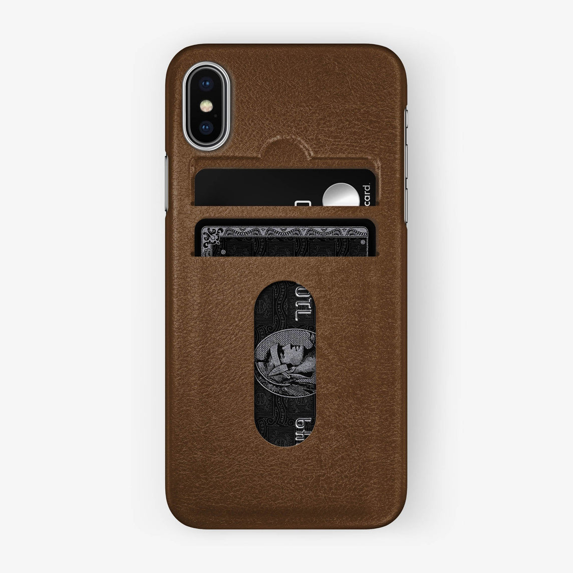 Calfskin Card Holder Case iPhone X/Xs | Brown - Stainless Steel