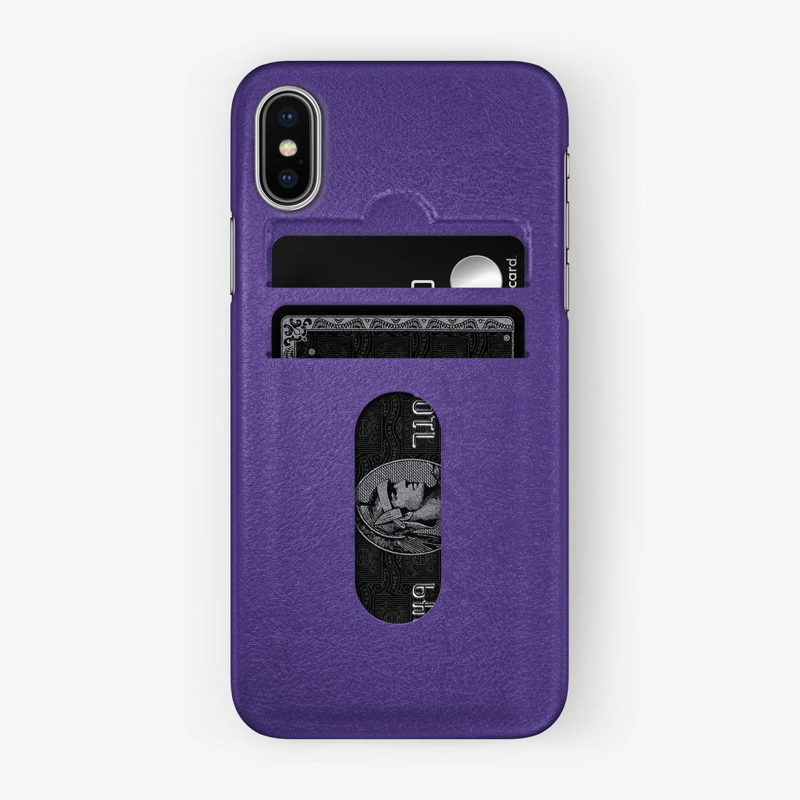 Calfskin Card Holder Case iPhone X/Xs | Purple - Stainless Steel