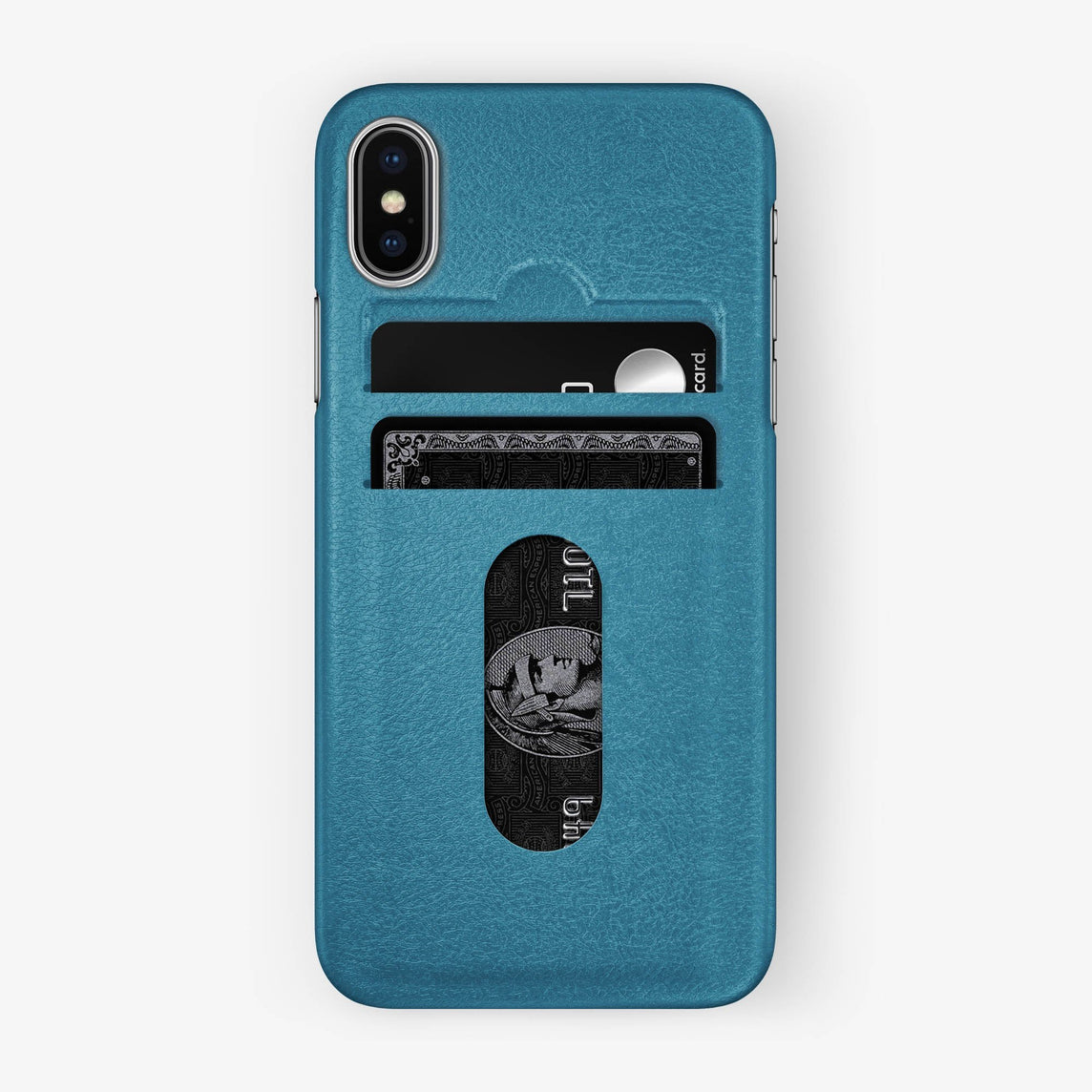 Teal Calfskin iPhone Card Holder Case for iPhone X finishing stainless steel - Hadoro Luxury Cases