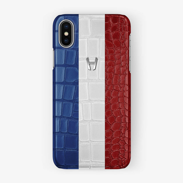 Alligator Case Flag of France iPhone X/Xs | Stainless Steel - Hadoro