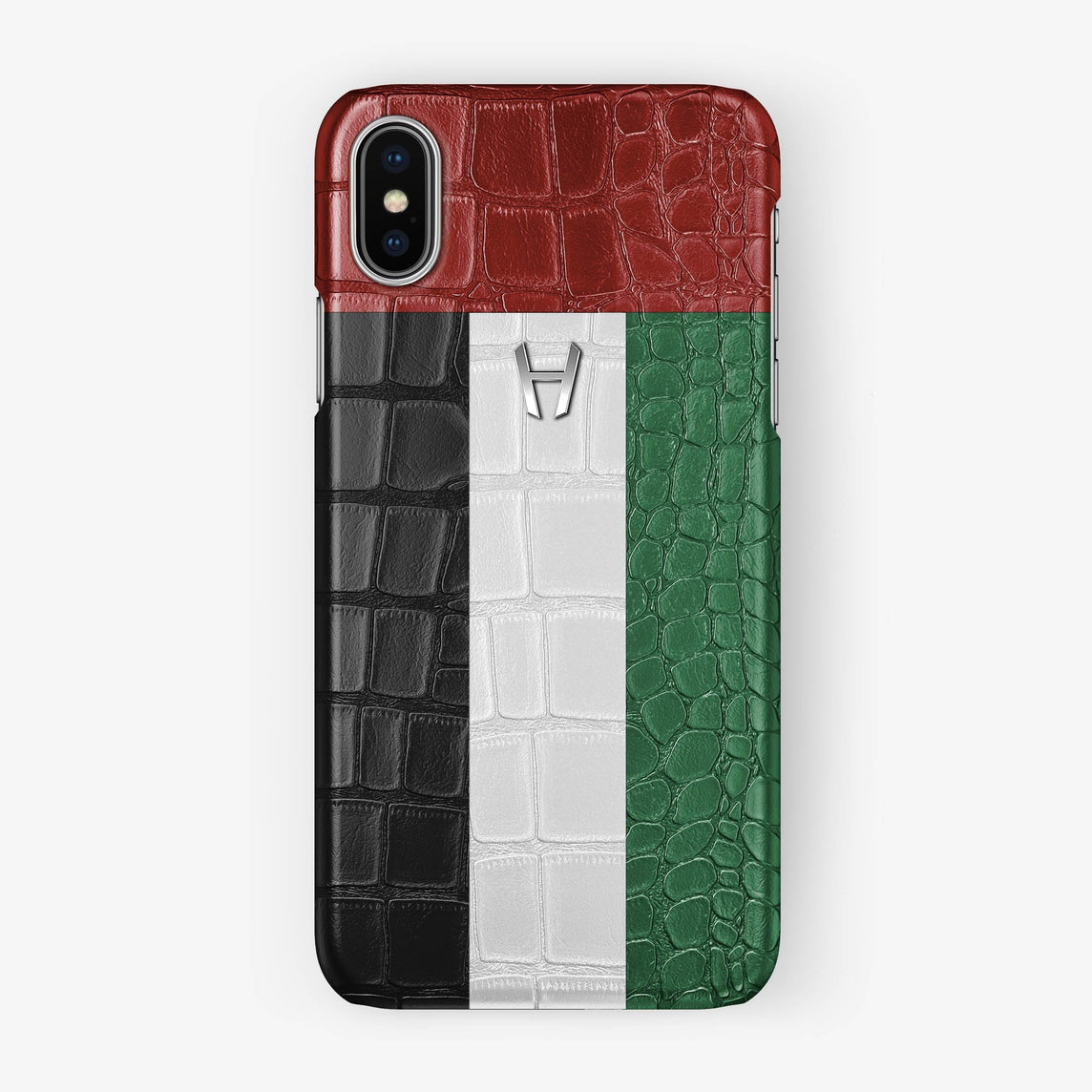 Alligator Case Flag of UAE iPhone X/Xs | Stainless Steel - Hadoro