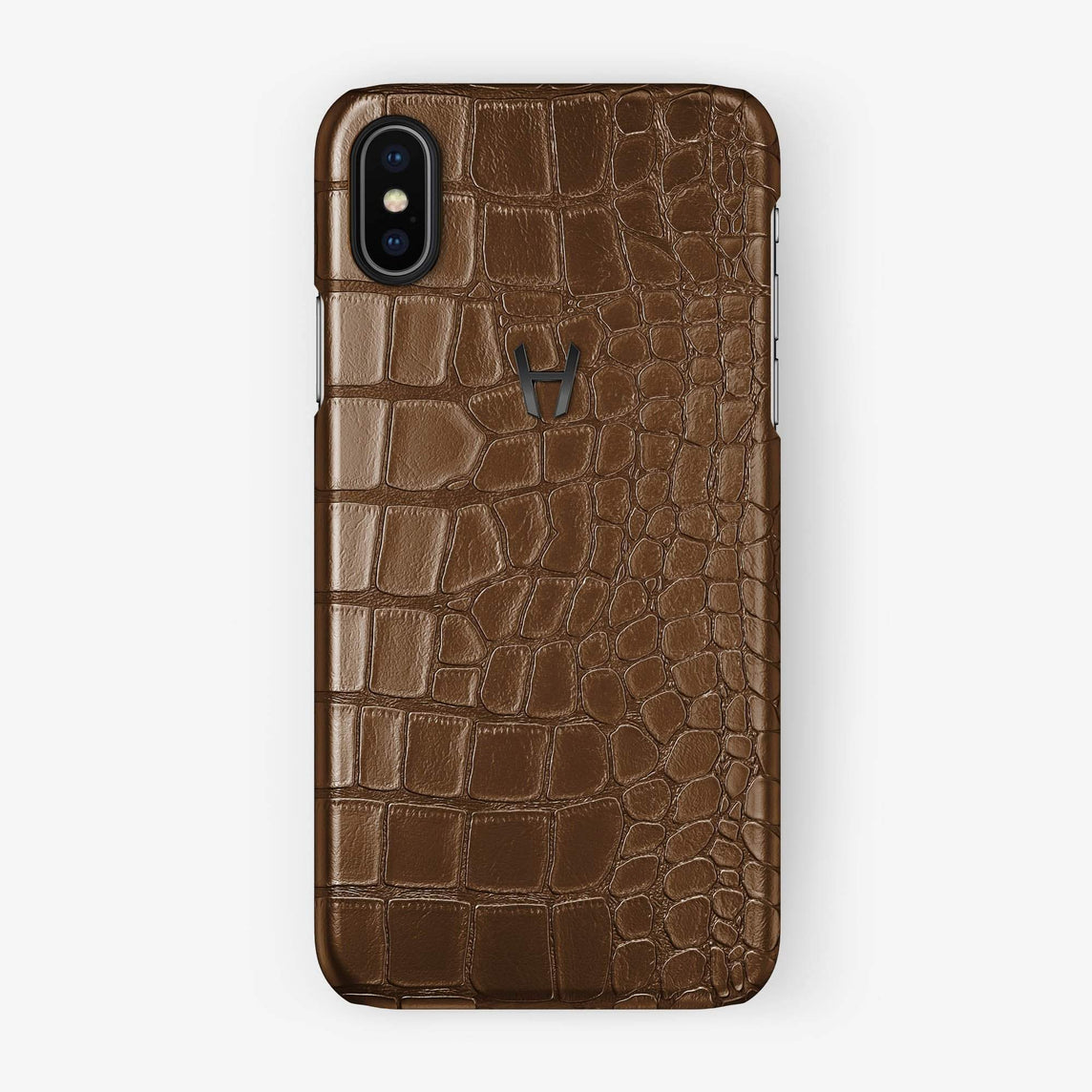 Alligator [iPhone Case] [model:iphone-xsmax-case] [colour:brown] [finishing:black] - Hadoro