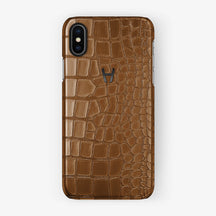 Alligator Case iPhone X/Xs | Cognac - Black without-personalization