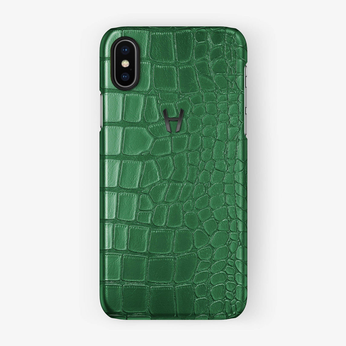 Alligator [iPhone Case] [model:iphone-x-case] [colour:green] [finishing:black] - Hadoro