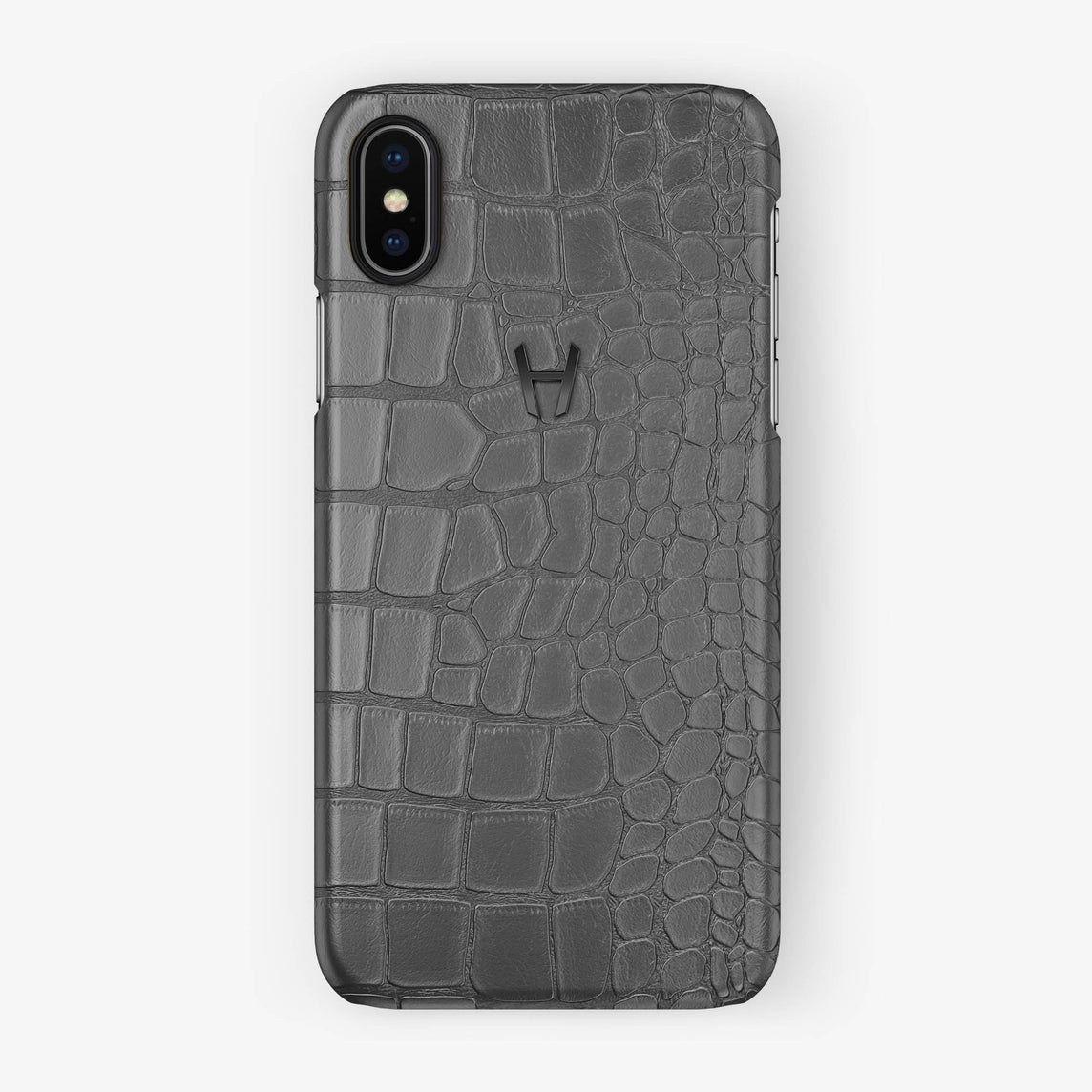 Alligator Case iPhone X/Xs | Grey - Black without-personalization