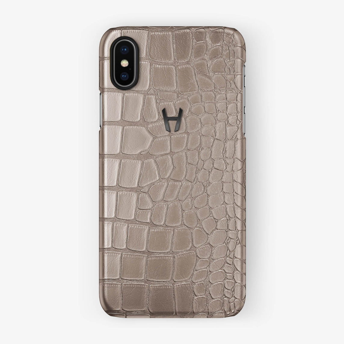 Alligator Case iPhone X/Xs | Latte - Black without-personalization