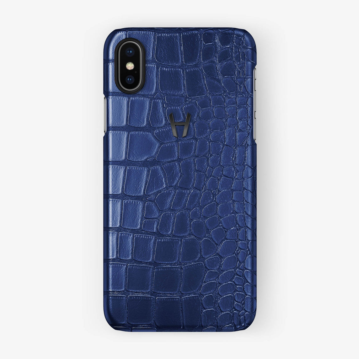 Alligator Case iPhone X/Xs | Navy Blue - Black - Hadoro