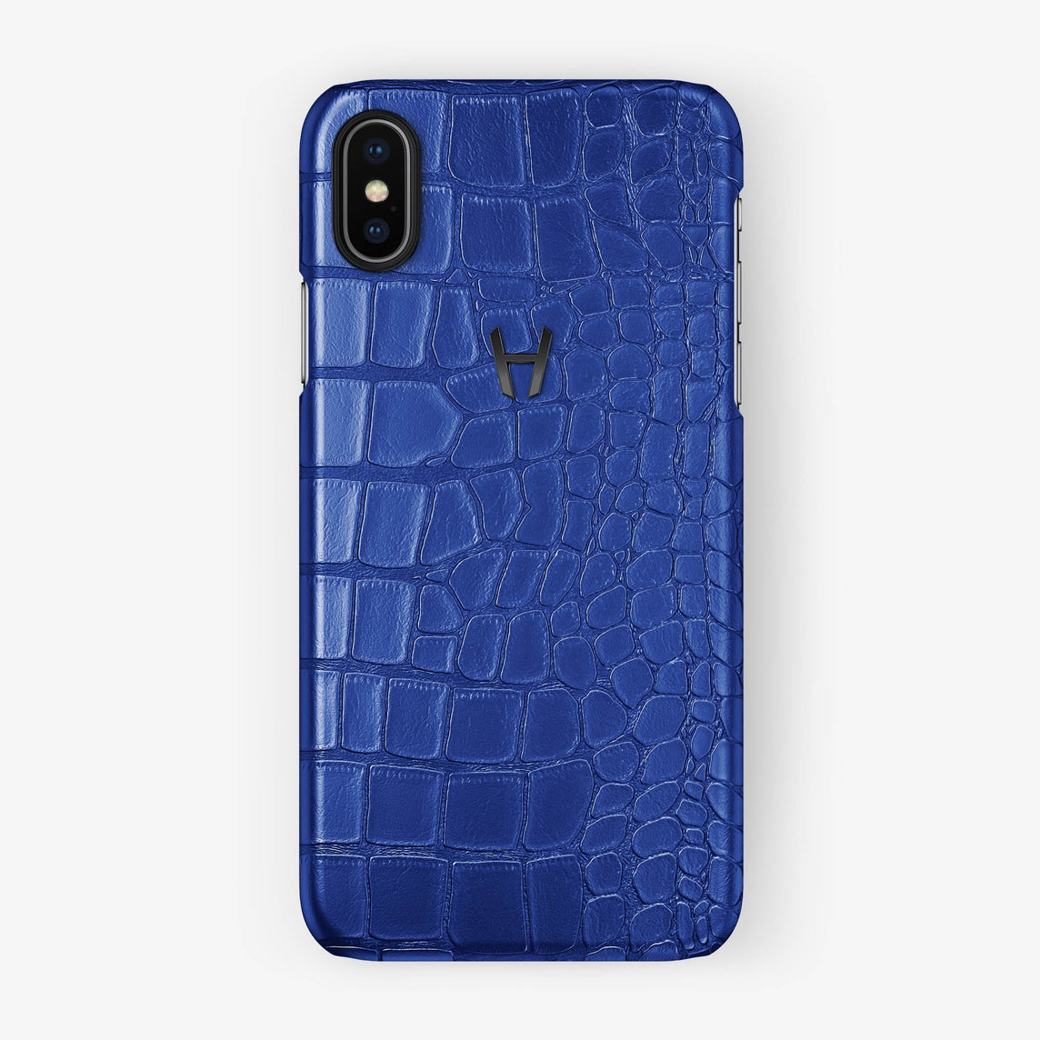 Alligator Case iPhone X/Xs | Peony Blue - Black - Hadoro