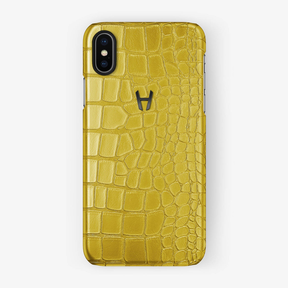 Alligator Case iPhone X/Xs | Yellow - Black without-personalization