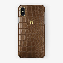 Alligator Case iPhone X/Xs | Brown - Yellow Gold - Hadoro