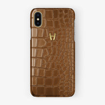 Alligator [iPhone Case] [model:iphone-xsmax-case] [colour:cognac] [finishing:yellow-gold] - Hadoro
