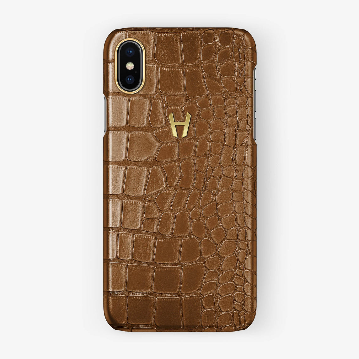 Alligator Case iPhone X/Xs | Cognac - Yellow Gold without-personalization