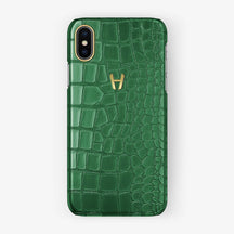 Alligator [iPhone Case] [model:iphone-xsmax-case] [colour:green] [finishing:yellow-gold] - Hadoro