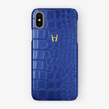 Alligator Case iPhone X/Xs | Peony Blue - Yellow Gold without-personalization