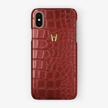 Alligator [iPhone Case] [model:iphone-xsmax-case] [colour:red] [finishing:yellow-gold] - Hadoro