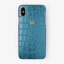 Alligator Case iPhone X/Xs | Teal - Yellow Gold without-personalization