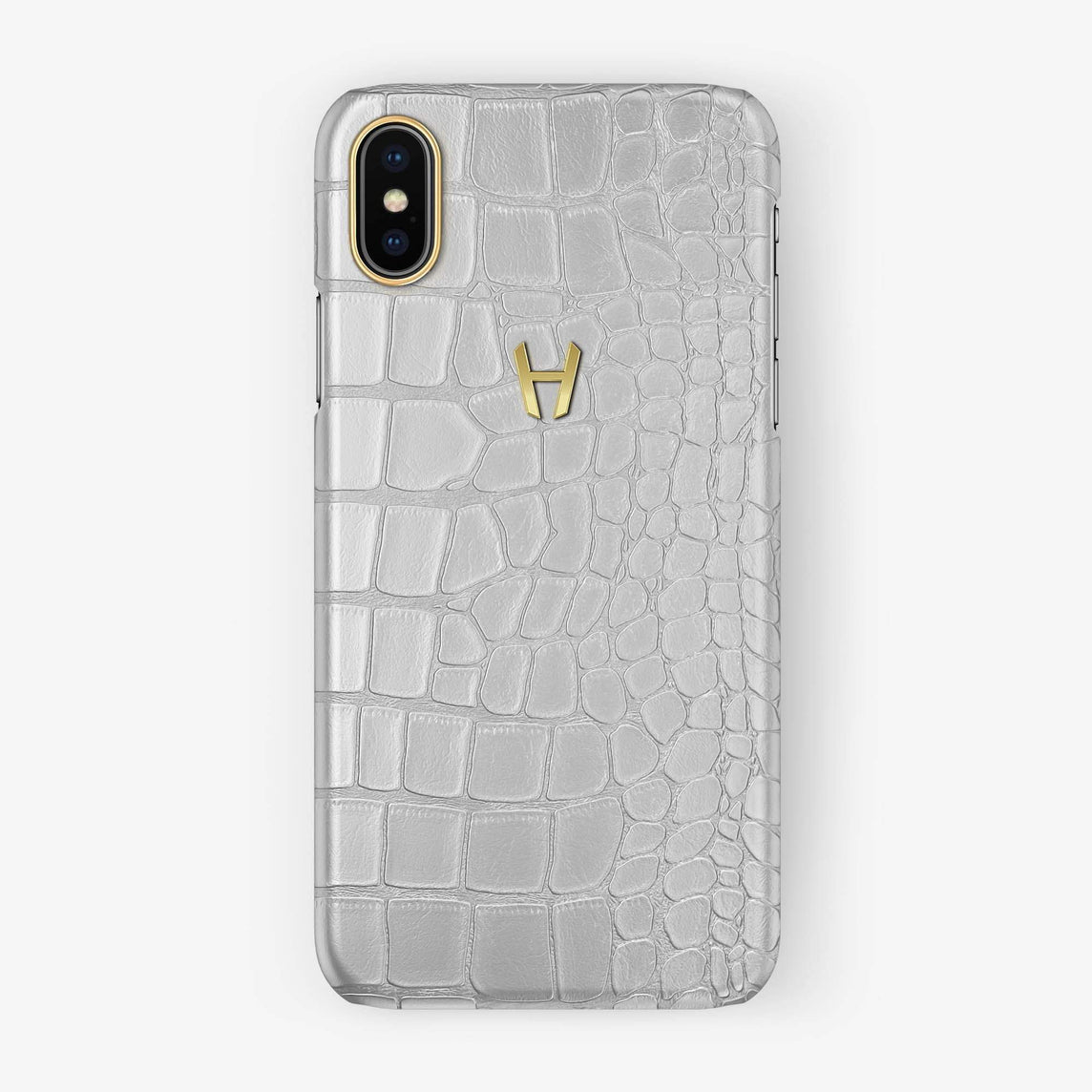 Alligator [iPhone Case] [model:iphone-xsmax-case] [colour:white] [finishing:yellow-gold] - Hadoro
