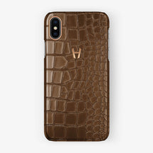 Alligator Case iPhone X/Xs | Brown - Rose Gold - Hadoro