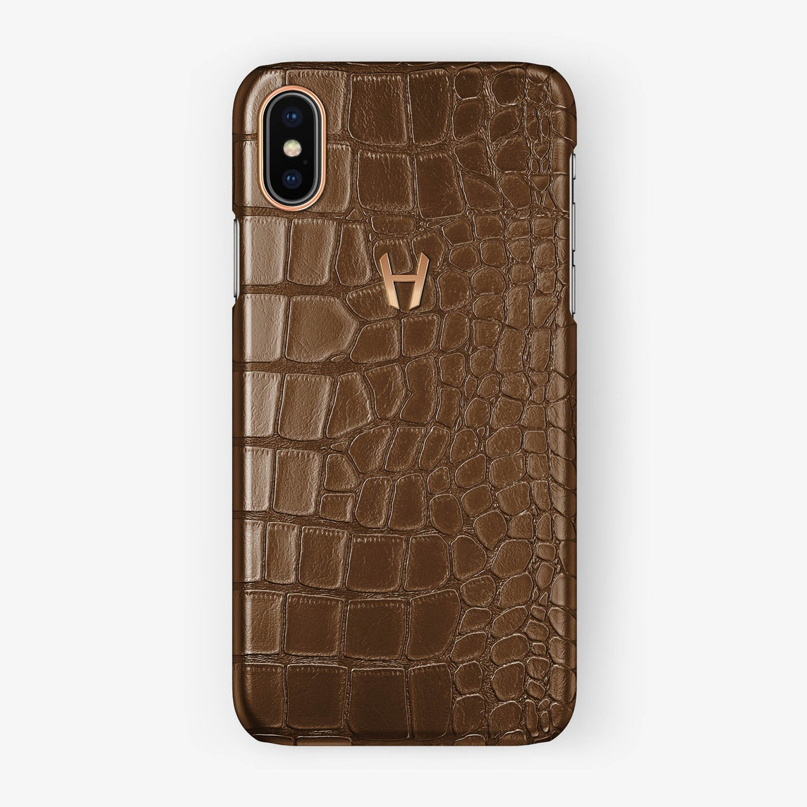 Alligator Case iPhone X/Xs | Brown - Rose Gold without-personalization