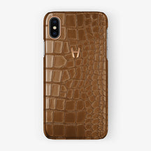 Alligator Case iPhone X/Xs | Cognac - Rose Gold without-personalization