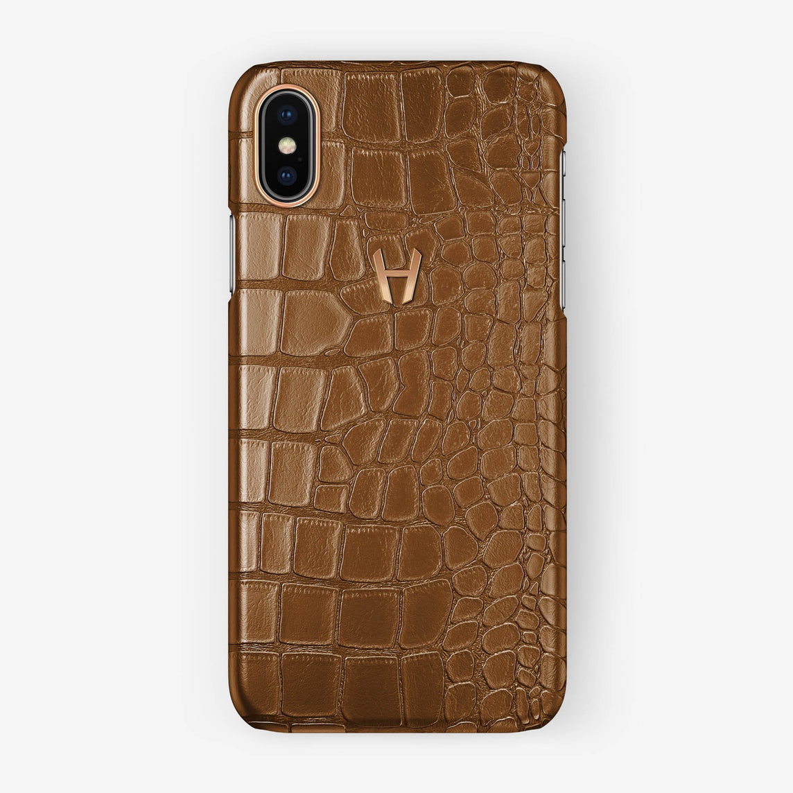 Alligator [iPhone Case] [model:iphone-xsmax-case] [colour:cognac] [finishing:rose-gold] - Hadoro