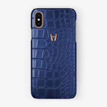 Alligator Case iPhone X/Xs | Navy Blue - Rose Gold without-personalization