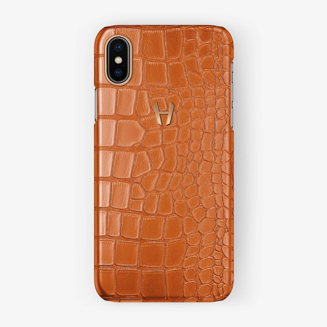 Alligator Case Iphone Xs Max Orange Rose Gold Hadoro Paris